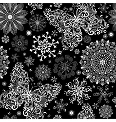 christmas black lacy seamless pattern vector image