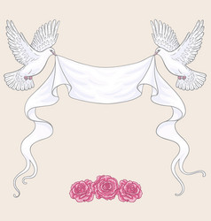 flying doves ribbon and pink roses vector image vector image