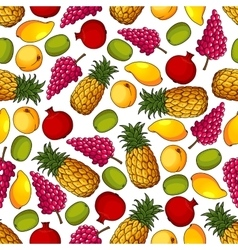 Fresh tropical fruits seamless pattern vector image vector image