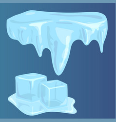 ice caps snowdrifts icicles elements arctic snowy vector image