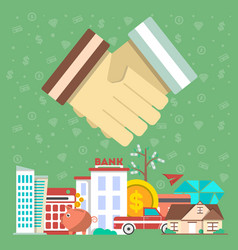 investing in future concept with shaking hands vector image
