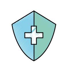 scribble medical shield cartoon vector image