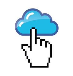 Blue cloud with cursor hand vector image