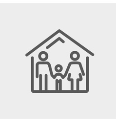 Family house thin line icon vector