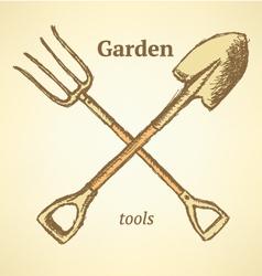 Garden fork shovel vector