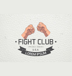 realistic and detailed fist emblem fighting club vector image vector image