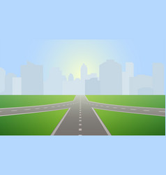 road leading to city standing at horizon vector image