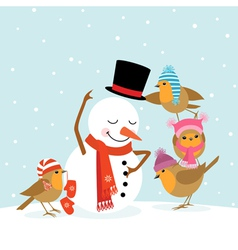 Robins and Snowman vector image vector image