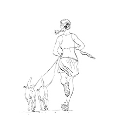 Sporty woman runner with dogs vector