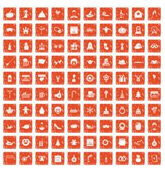100 holidays icons set grunge orange vector image vector image