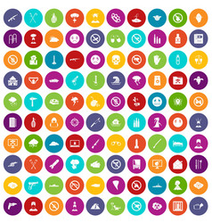 100 tension icons set color vector image