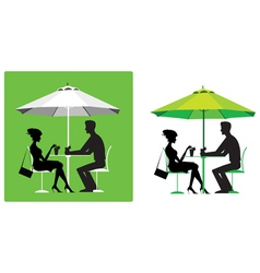 Couple at outdoor cafe vector image vector image