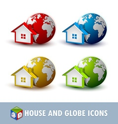 Earth and house icons vector image vector image