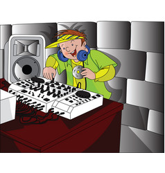Happy dj playing music vector