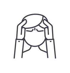 headache concept thin line icon symbol vector image