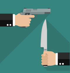 man hold gun and man hold knife vector image