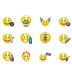 racing equipment smiles icons set vector image vector image