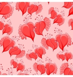 romantic seamless pattern with abstract hearts vector image vector image