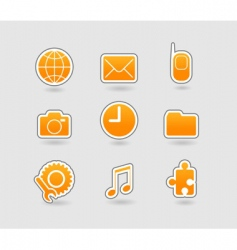 set of yellow icons vector image