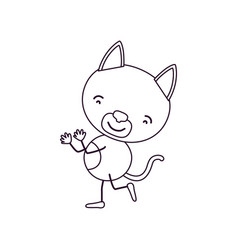 Sketch contour caricature with cute cat dancing vector
