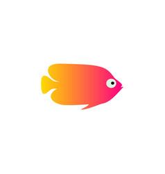 yellow red fish icon aquarium vector image