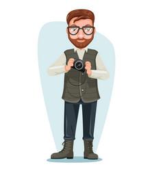 blogger nature photographer man cartoon character vector image