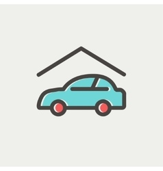 Car garage thin line icon vector image