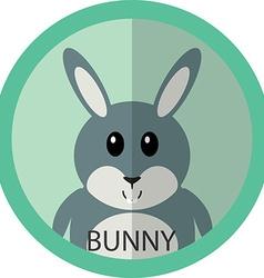 Cute grey bunny cartoon flat icon avatar round vector image vector image