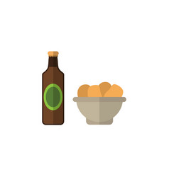 Isolated snacks flat icon beer with chips vector