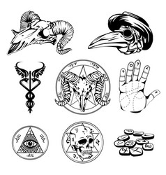 sketch set of esoteric symbols and occult vector image