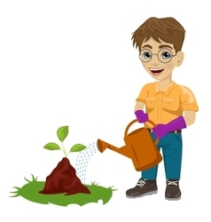 young boy watering a plant vector image