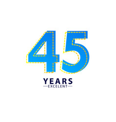 45 years excellent anniversary celebration blue vector