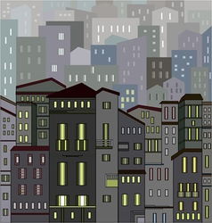 Abstract gray city view in outlines with many hous vector