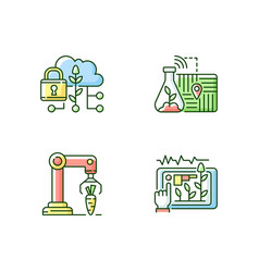 Automation agronomy rgb color icons set vector