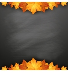 Autumn background with maple leaves on blackboard vector image