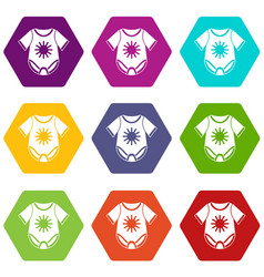 Baby bodysuit icon set color hexahedron vector