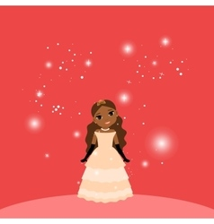 Beautiful cartoon princess on red background vector