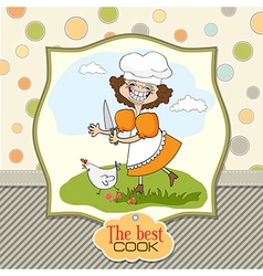 Best cook certificate with funny cook who runs a vector