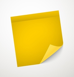 Blank yellow sticker with bending corner vector