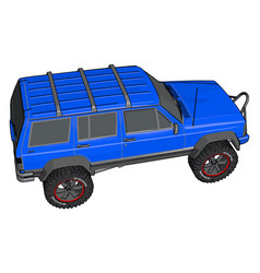 blue off road vehicle on white background vector image