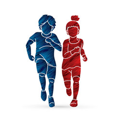 Boy and girl running together children running vector