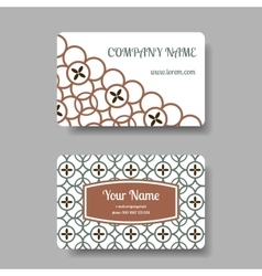 Business card set with floral chinese ornament vector
