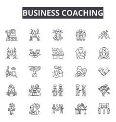 business coaching line icons for web and mobile vector image