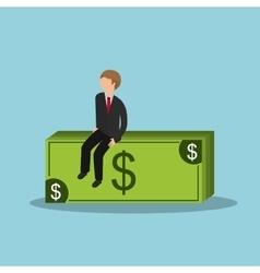 Business man and money bills vector