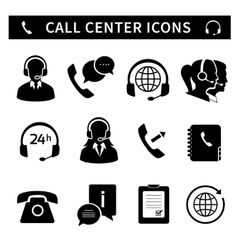 Call center service icons set vector