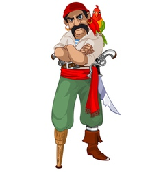 Cartoon pirate with parrot vector image