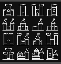 castle icon line style set on black background vector image