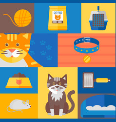 cat icons and stickers in colorful collage vector image