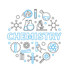 Chemistry education concept round linear vector