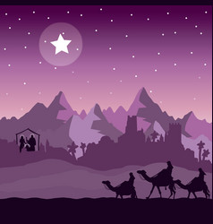christmas nativity and the three wise men vector image